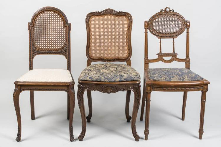 Three Caned Back Side Chairs