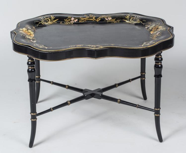 Black Painted Tray Top Table