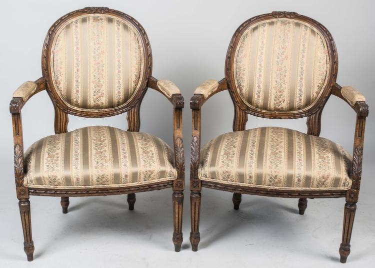 Pair of Louis XVI Style Fauteuils