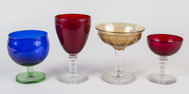 Group of Colored Glass Stemware