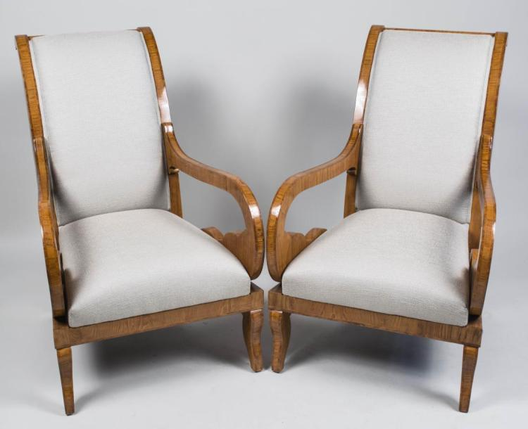 Pair of Burl Wood Armchairs   *