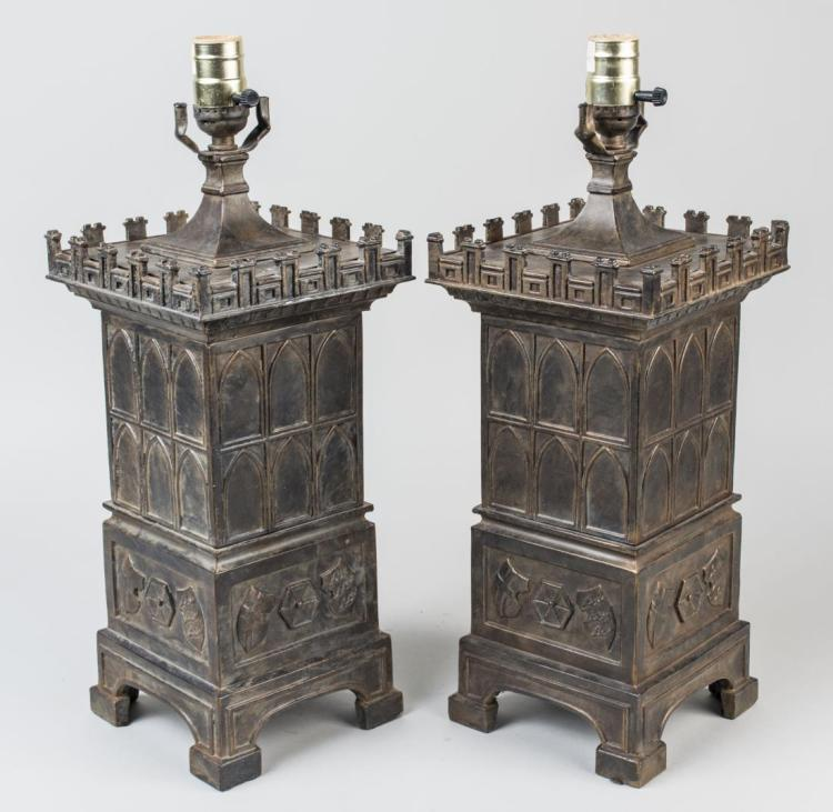 Pair of Metal Gothic Style Lamps