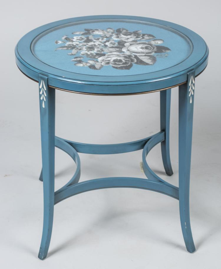 Beaded Top Blue Painted Occasional Table