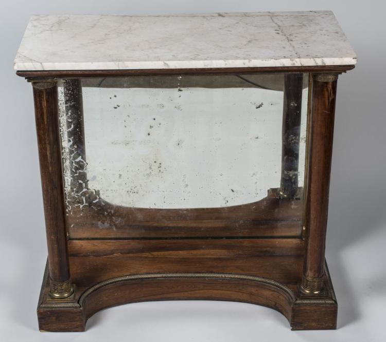Empire Style Marble Top Mirrored Console