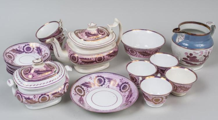 Group of Pink Lusterware