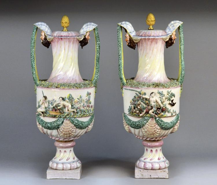 Pair of Italian Majolica Covered Urns