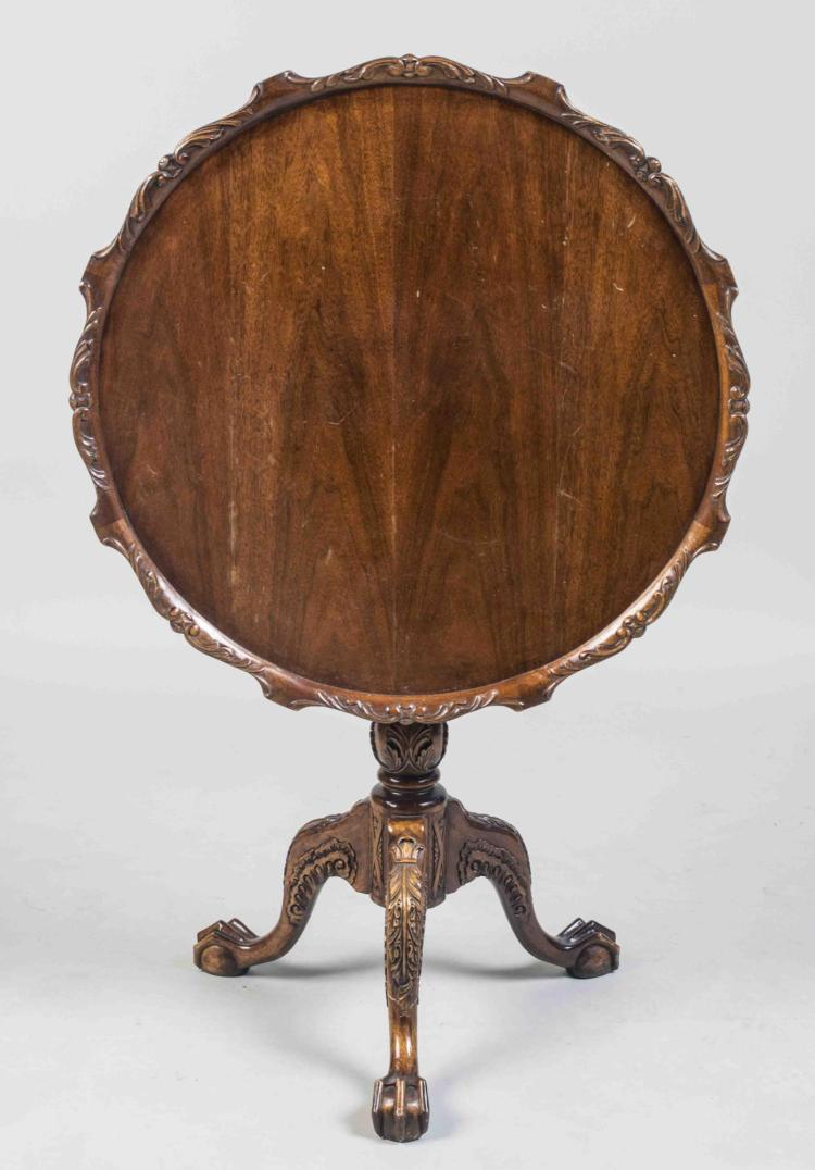 Mahogany Pie Crust Tilt Top Table