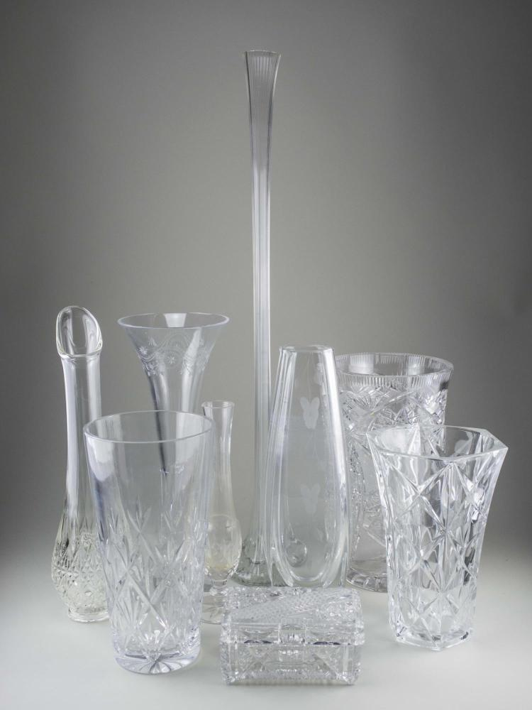 Group of Colorless Glass Vases
