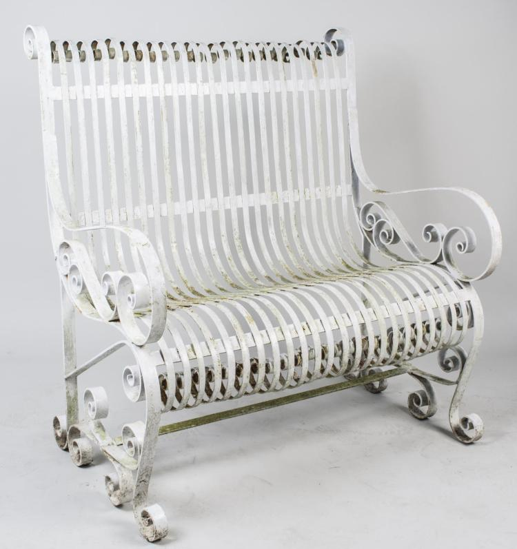 White Painted Wrought Iron Bench