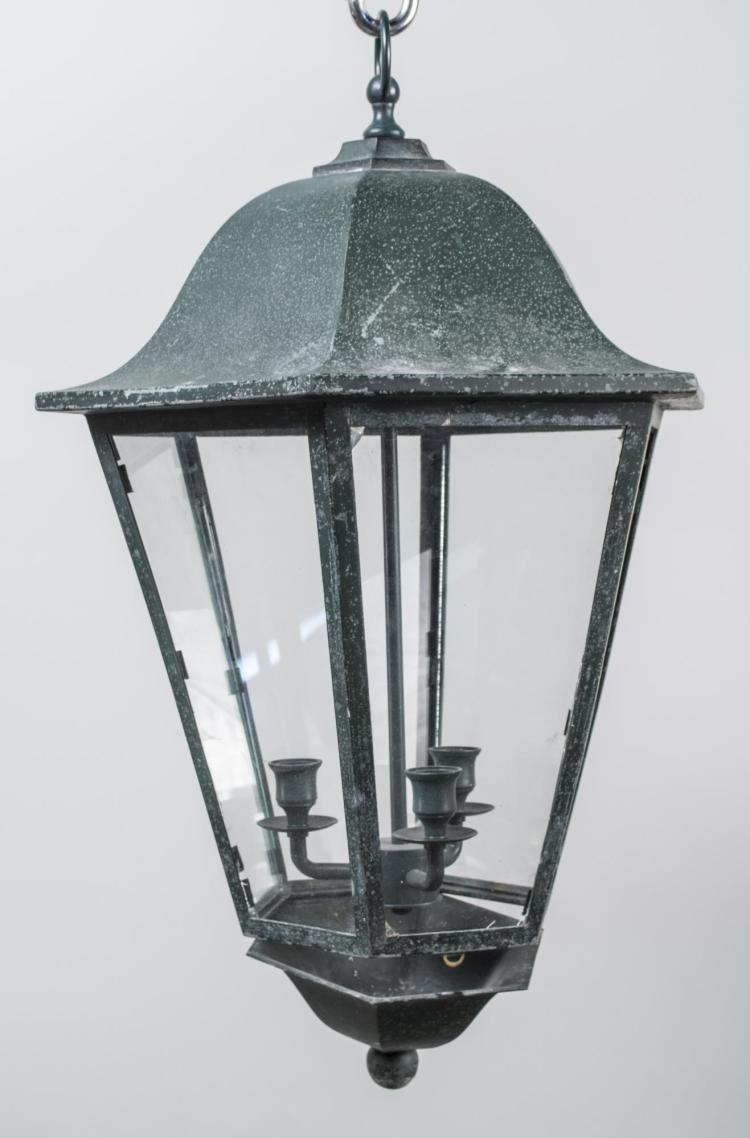 Patinated Metal Hall Lantern