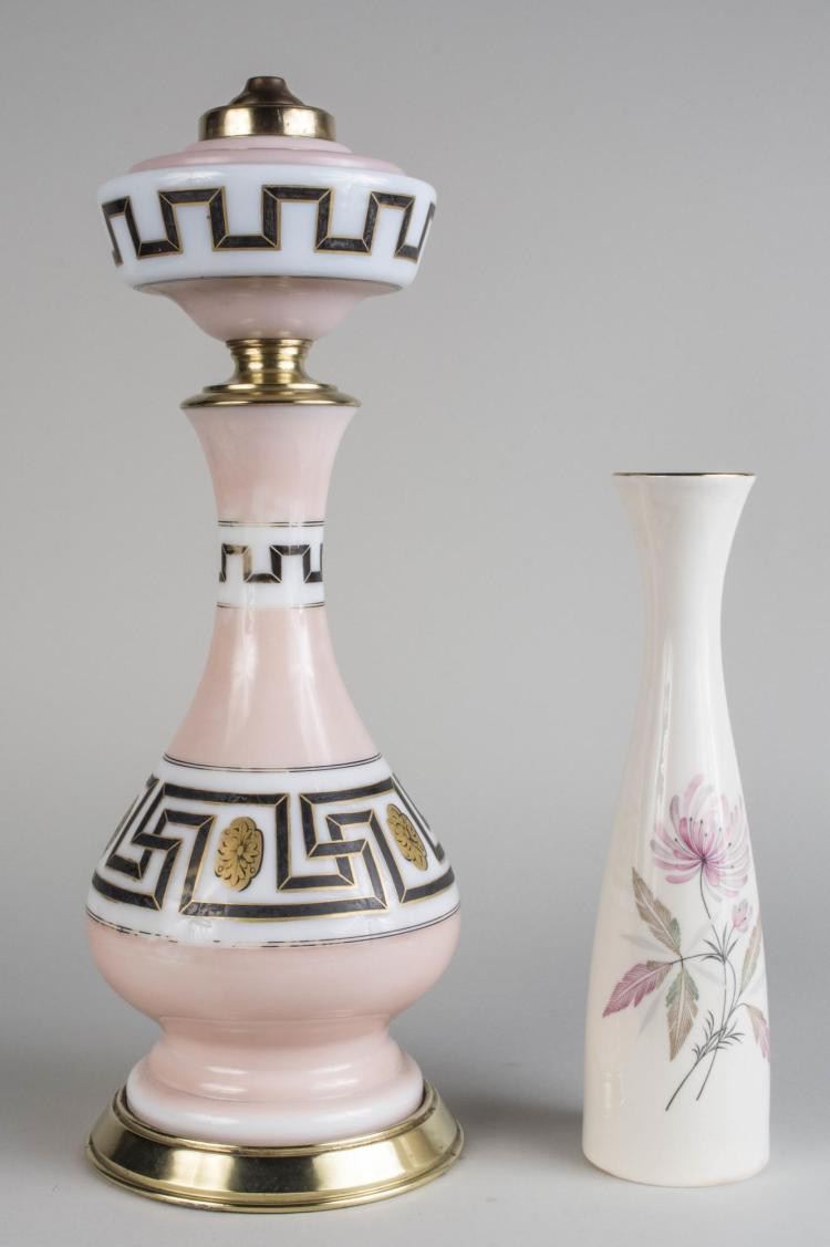 Opaline Glass Oil Lamp Base & Porcelain Vase