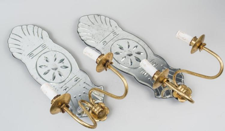 Pair of Italian Mirrored Back Sconces