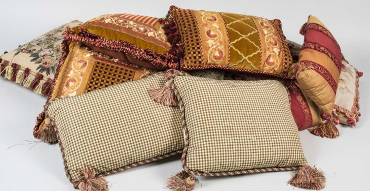 Group of Decorative Throw Pillows