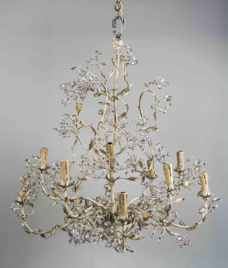 Naturalistic Form Tole and Crystal Chandelier