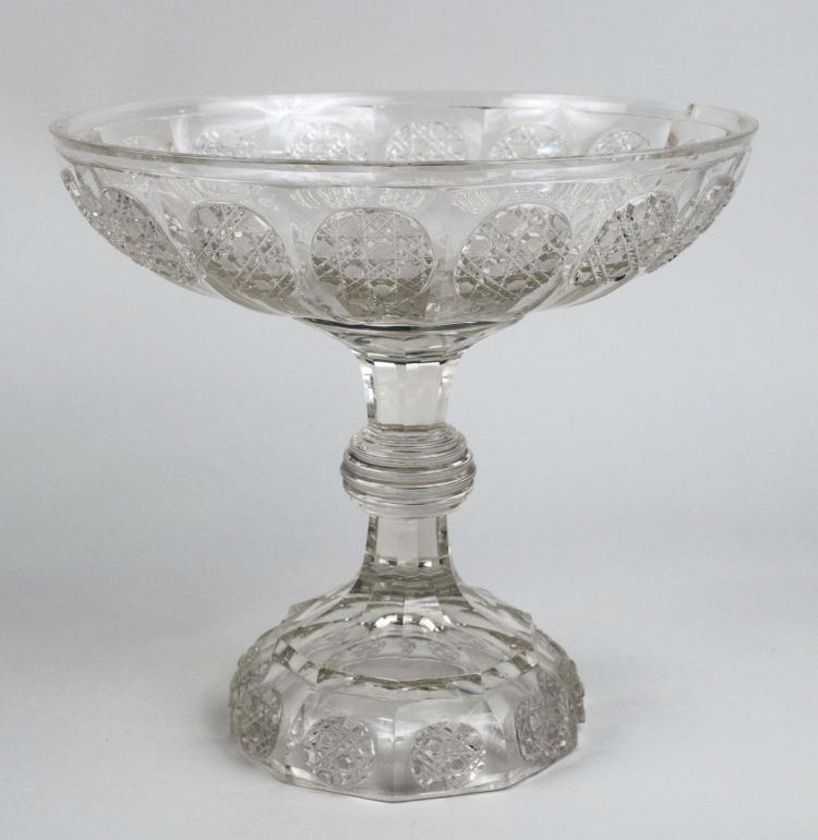 Monumental Cut Glass Compote