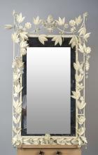 White Painted Tole Mirror