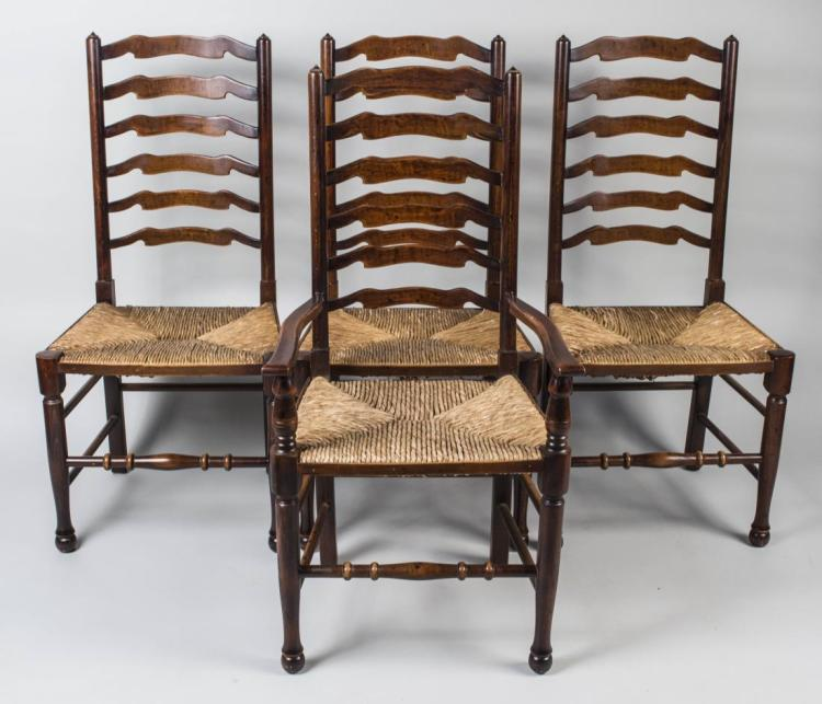 Set of Eight Ladder Back Chairs