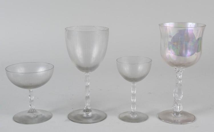 Two Sets of Colorless & Iridescent Glassware