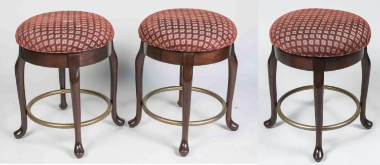 Three Upholstered Seat Stools