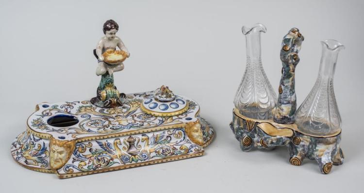 Italian Pottery Figural Inkstand