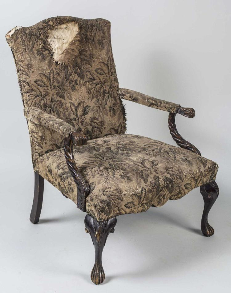 Chippendale Style Tapestry Armchair