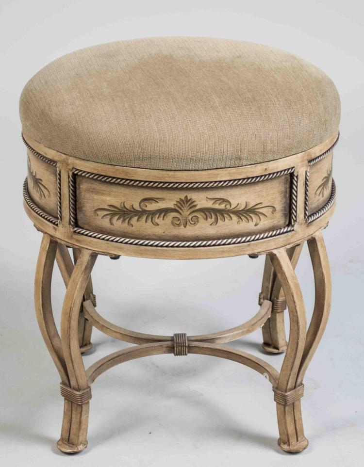 Painted Upholstered Footstool
