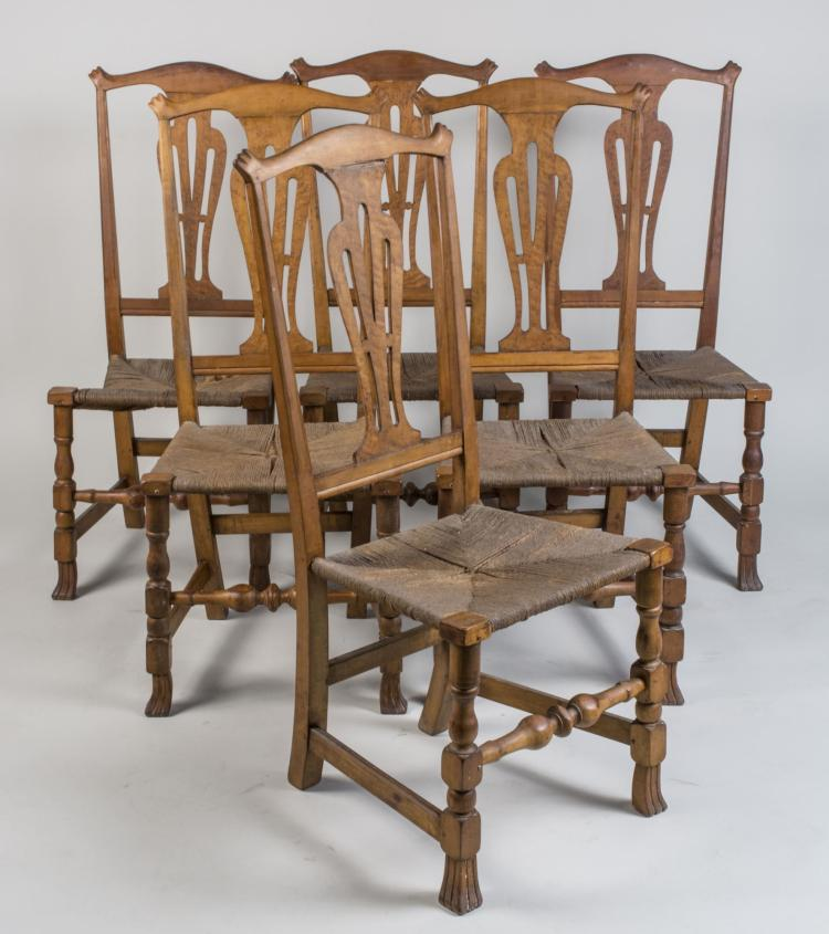 Set of Six Chippendale Rush Seat Side Chairs
