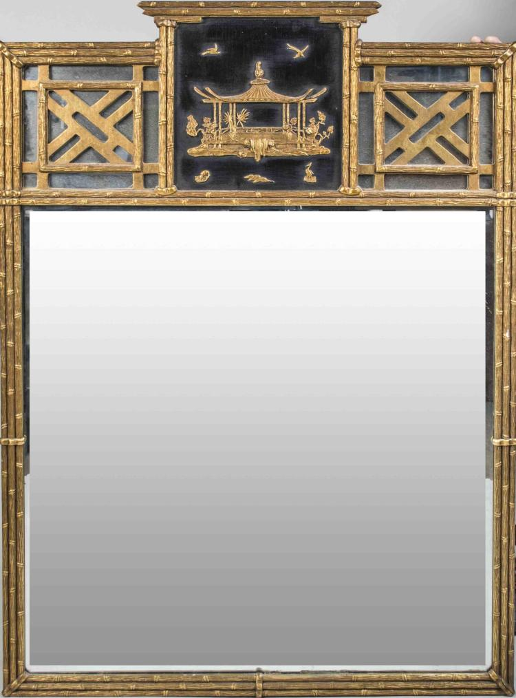 Chinese Chippendale Gilt Wood Mirror