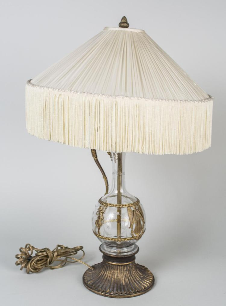 Gilt Metal Mounted Glass Lamp