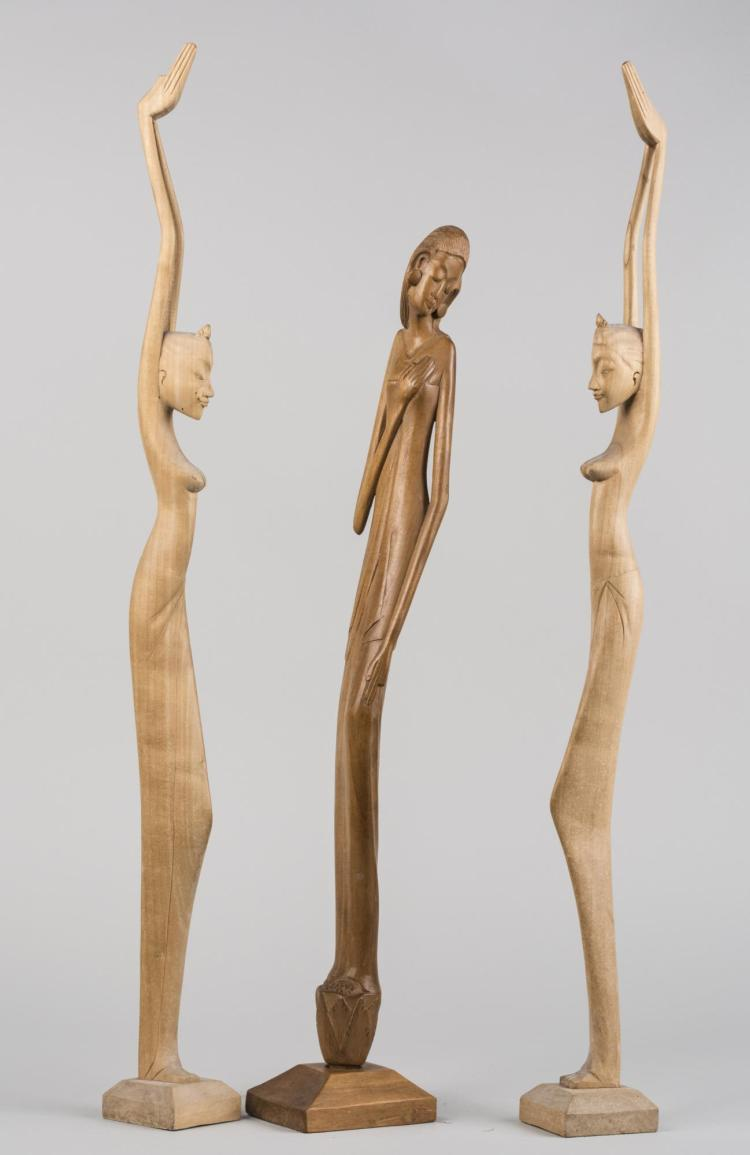 Three Carved Wood Figures
