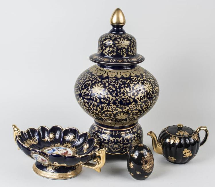 Group of Gilt Decorated Cobalt Table Decorations