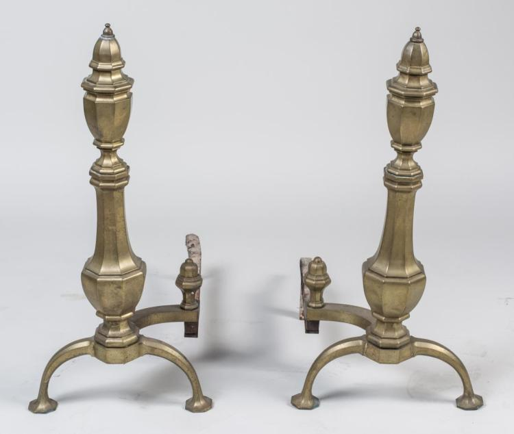 Pair of Brass Andirons
