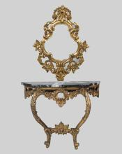 Carved Gilt Wood Console and Mirror
