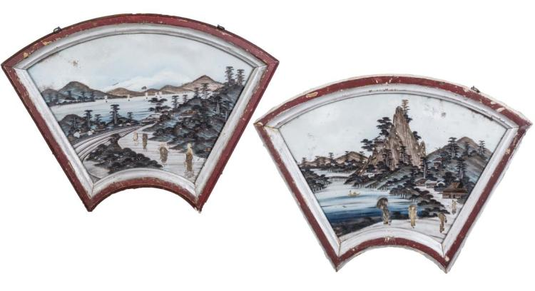 Two Chinese Painted Fan Shaped Panels