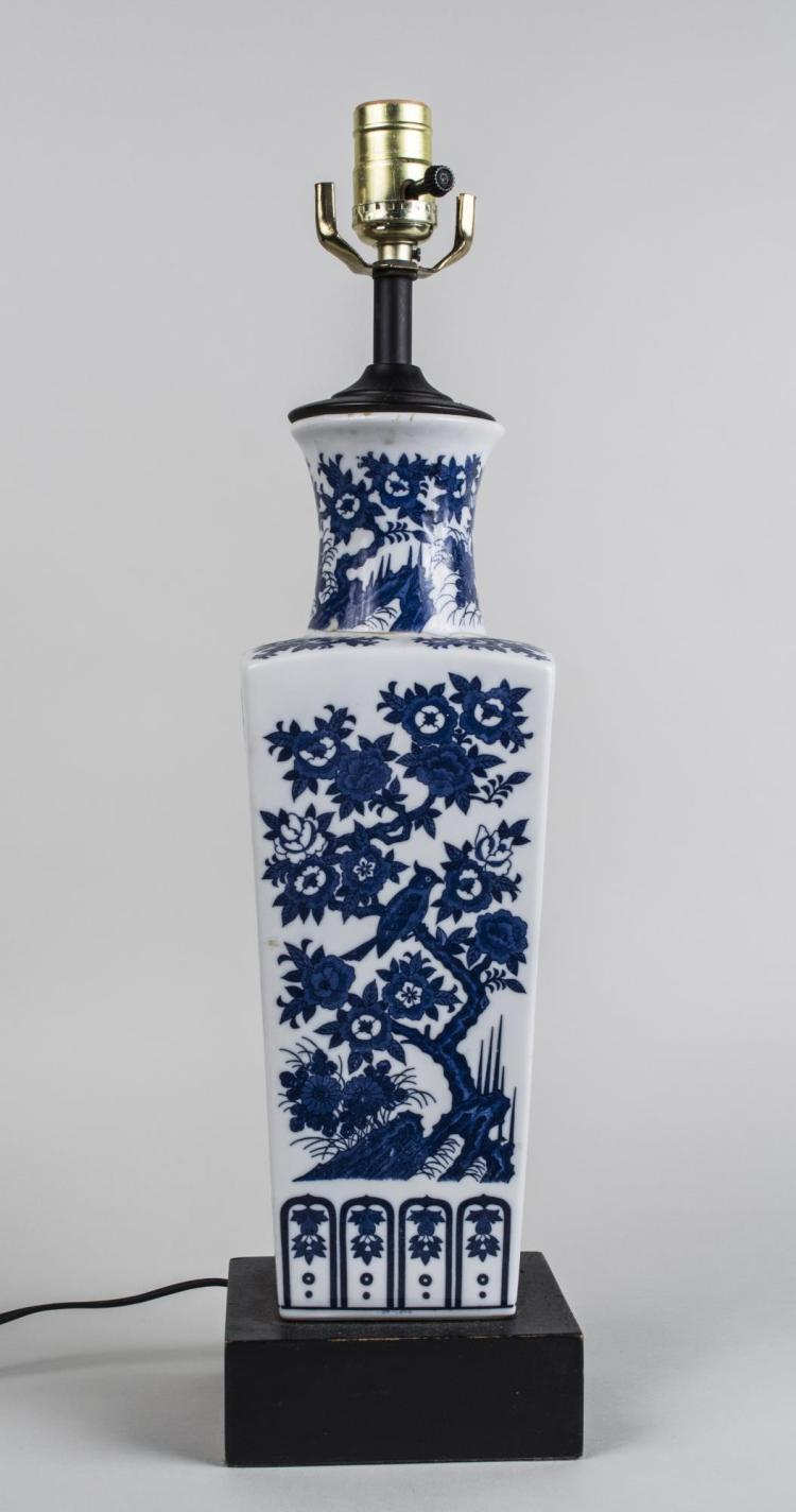 Chinese Blue and White Porcelain Vase Lamp
