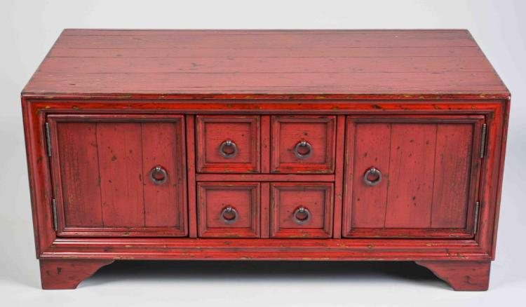 Red Lacquer Low Cabinet