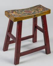 Asian Inspired Painted Stool