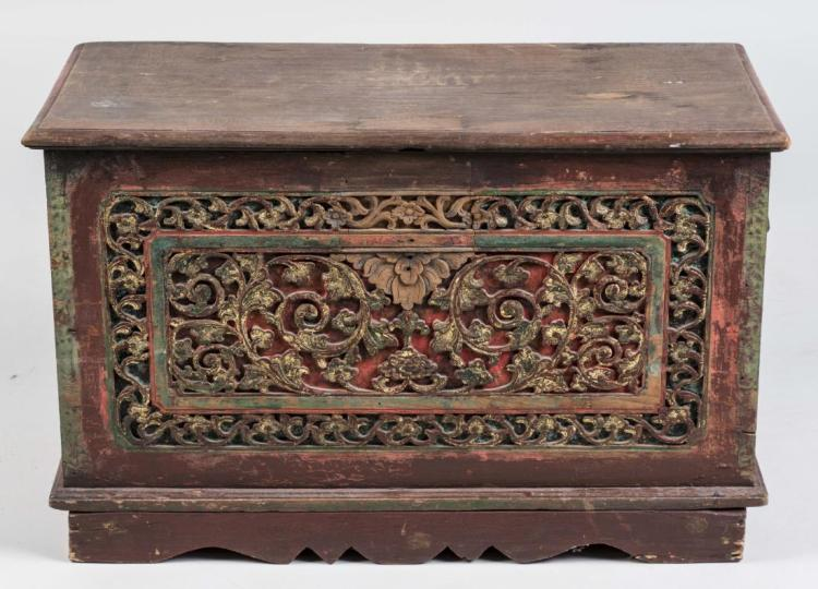 Anglo Indian Carved Wood Chest