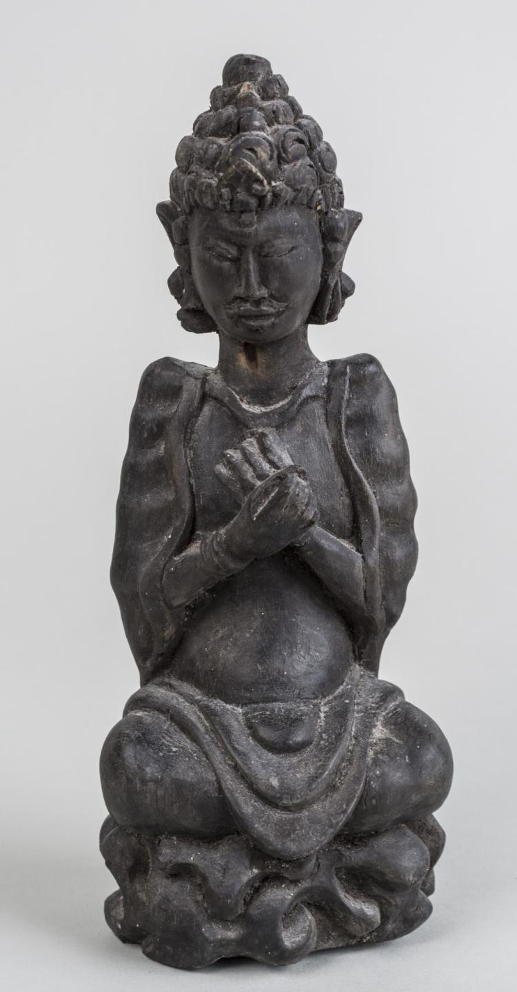 Carved Wood Figure of Buddha