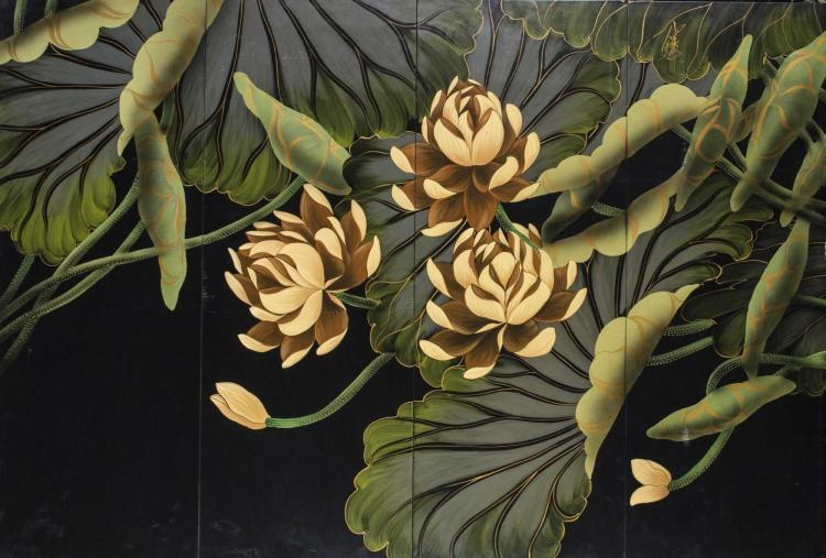 Asian Lacquered Screen