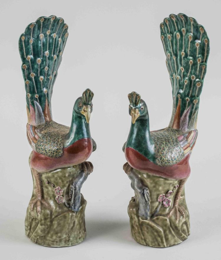 Pair of Chinese Porcelain Peacock Figures