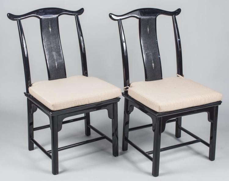 Pair of Chinese Style Black Lacquered Chairs   *