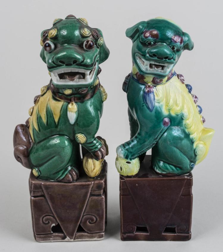 Pair of Green Ceramic Foo Lions