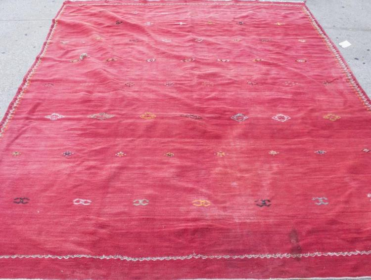 Indian Red Wool Flatweave Carpet