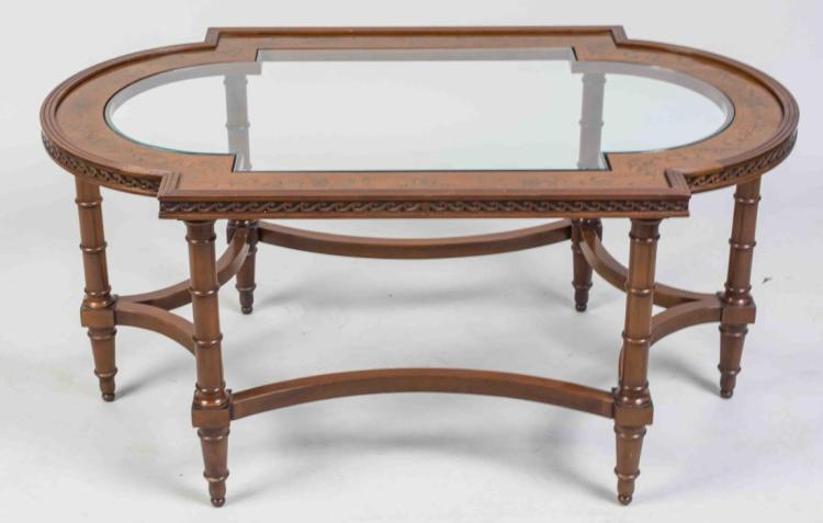 Glass Top Fruitwood Coffee Table