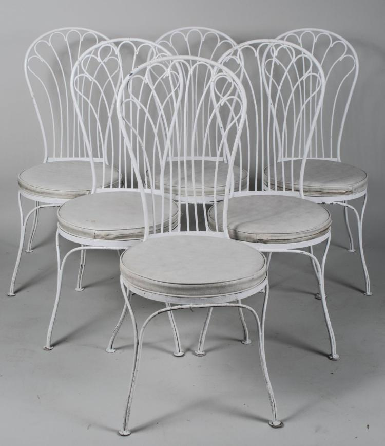 Glass Top Painted Dining Table and Six Chairs