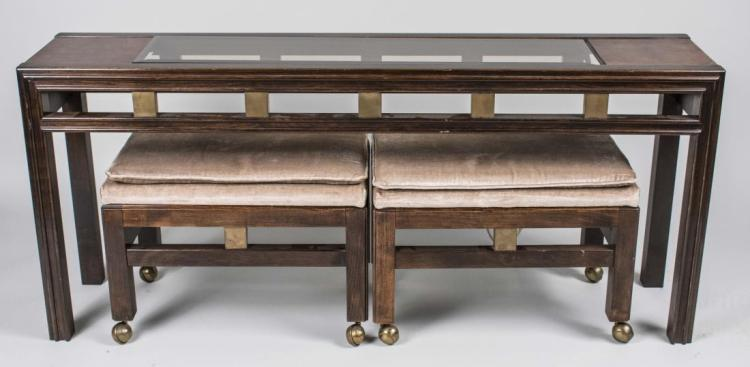 Asian style table and two bench set