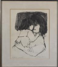 Lithograph of a Mother and Child