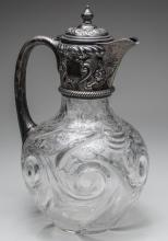 English Silver Mounted Glass Ewer   *