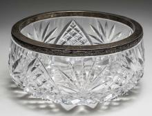 Russian Silver Mounted Cut Glass Bowl   *